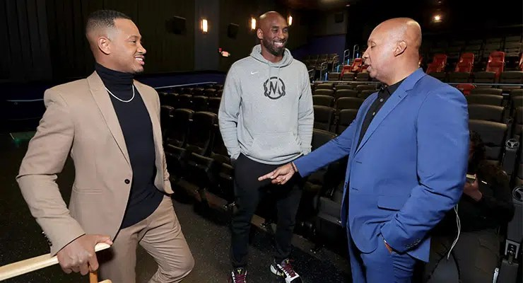(L-R) Terrence J, Kobe Bryant and Bryant Stevenson talk at the special screening of Just Mercy at the Cinemark Baldwin Hills in Los Angeles, on Jan. 6, 2020. (Credit: Warner Bros.)