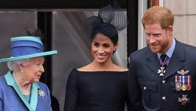 Queen Elizabeth, Harry and Meghan Markle (Credit: Shutterstock)