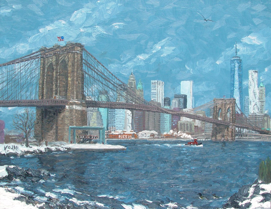 Brooklyn Bridge Oil Painting - Vojir