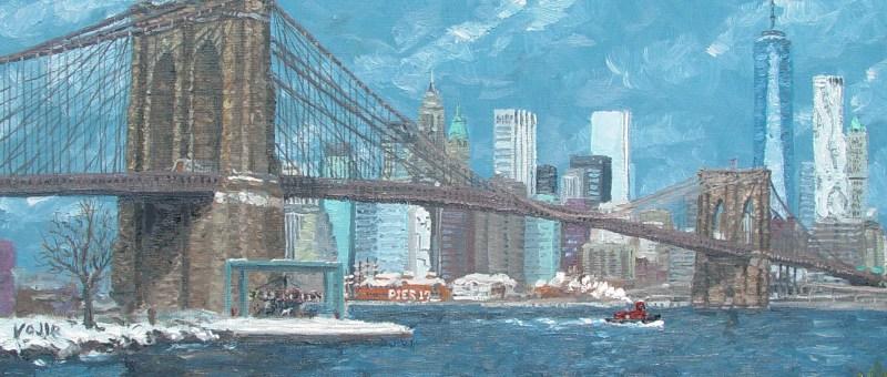 Brooklyn Bridge in Winter, oil painting