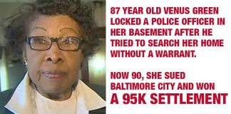 90yr Old Baltimore Lady Wins $95K Settlement After Locking Police Officer in Basement