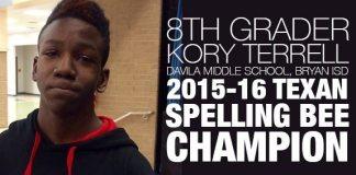 Black 8th Grader: 2015-16 Texan Spelling Bee Champion