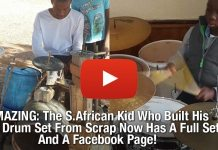 AMAZING: The S.African Kid Who Built His Own Drum Set From Scrap Now Has A Full Set And A Facebook Page!