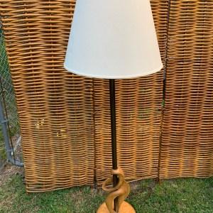 Bronze and wood floor lamp