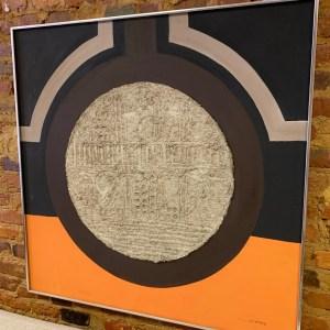 Orange, brown, mixed art, op-art piece.