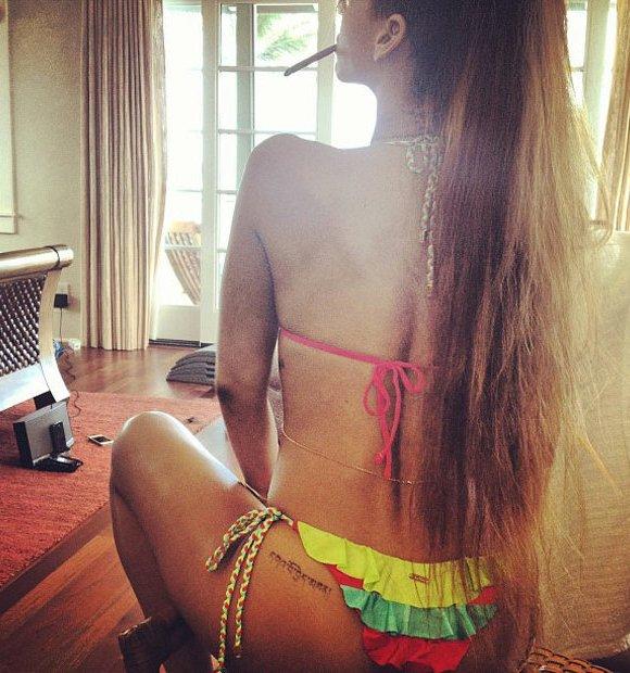 Rihanna bikini blunt birthday