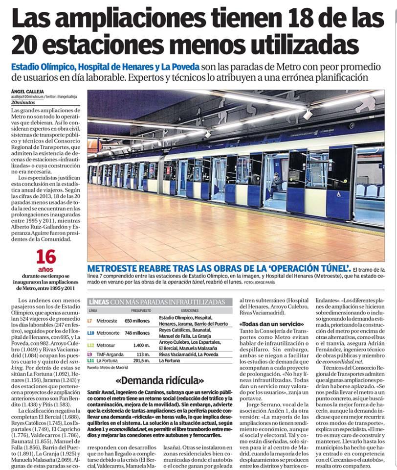 """Artículo que se publicó ayer en """"20 minutos"""" acerca de la infrautilización de estaciones de Metro"""