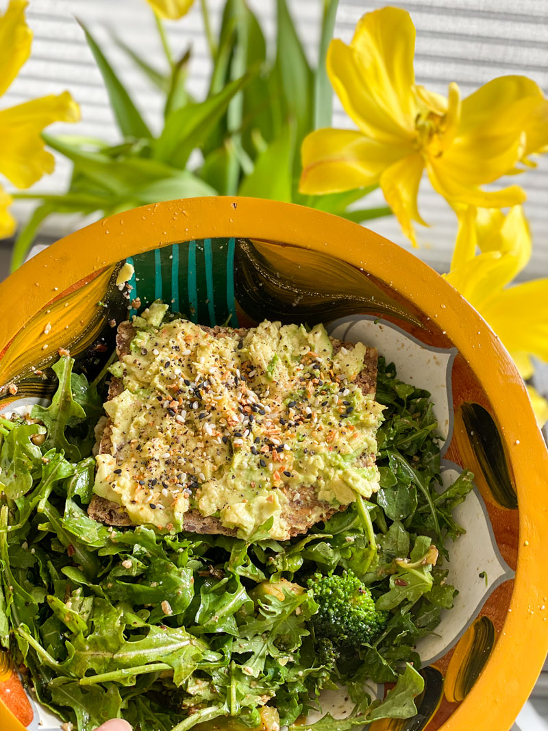 loaded arugula salad. shelter in place lunch ideas