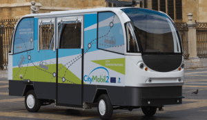 A prototype of a driverless minibus is tested on the streets of León, Spain. (Sigur/Shutterstock.com)