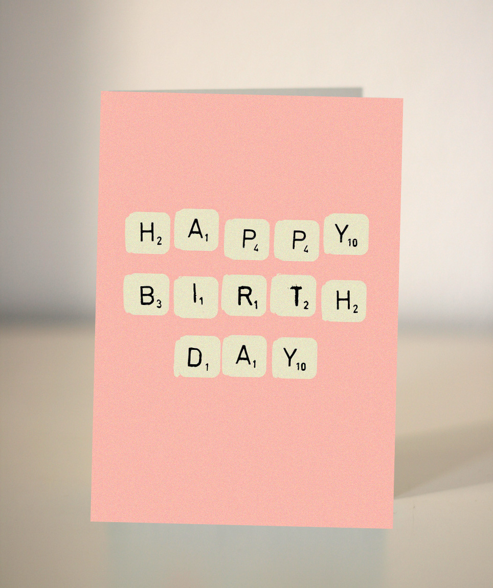 Birthday Card Scrabble Pink Free Shipping