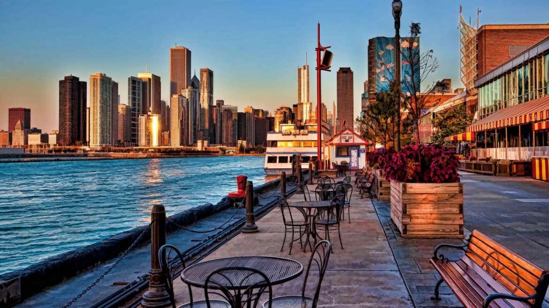 navy pier sunrise urbanmatter