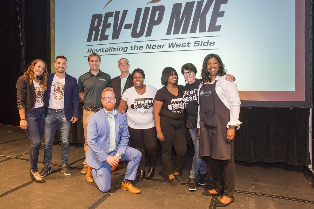 Susie Roberts (right), owner of kalyANa Organics, poses with fellow contestants after winning the 2018 Rev-Up MKE competition. Photo by Jennifer Janviere/NNS.