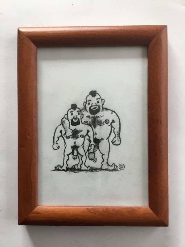 Bear Mohawk naked couple sketch