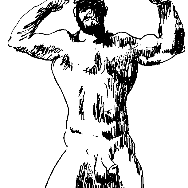 Ink drawing of naked man