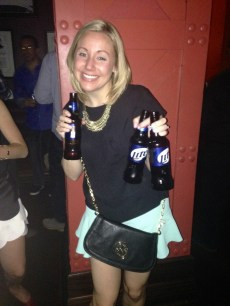 Why the bride-to-be wanted to celebrate with Miller Lite, I have no idea...
