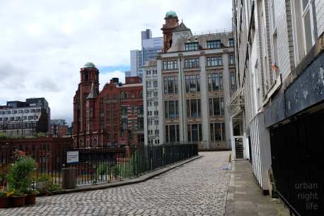 manchester | back view in the city center.