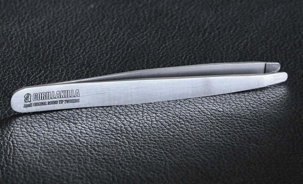ApeX Original Round Tip Tweezers w Leather Sheath Guaranteed for Life by Gorillakilla