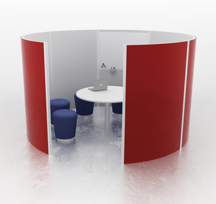 Office pods  acoustic utility areas  urban office