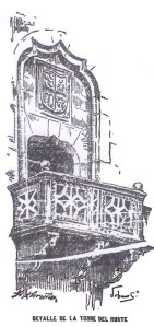 "Detail of the North Tower. Illustration of the newspaper ""La Voz de Galicia"""