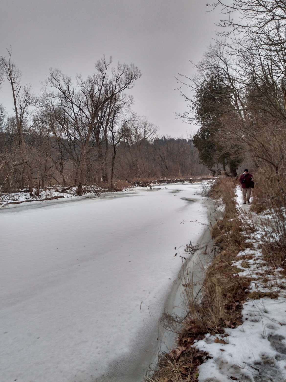 The frozen Rouge River at the Rouge Urban National Park Riverside Trail
