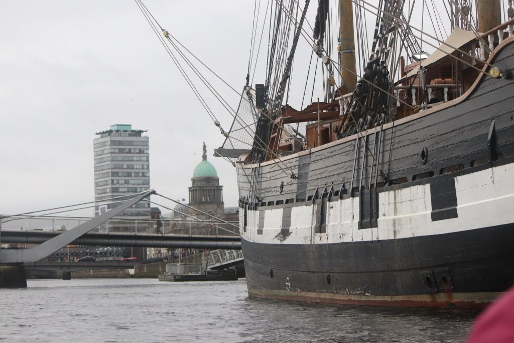 Jeannie Johnston tall ship on River Liffey