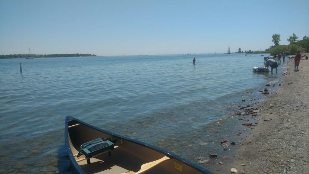 Launching the canoe at Cherry Beach