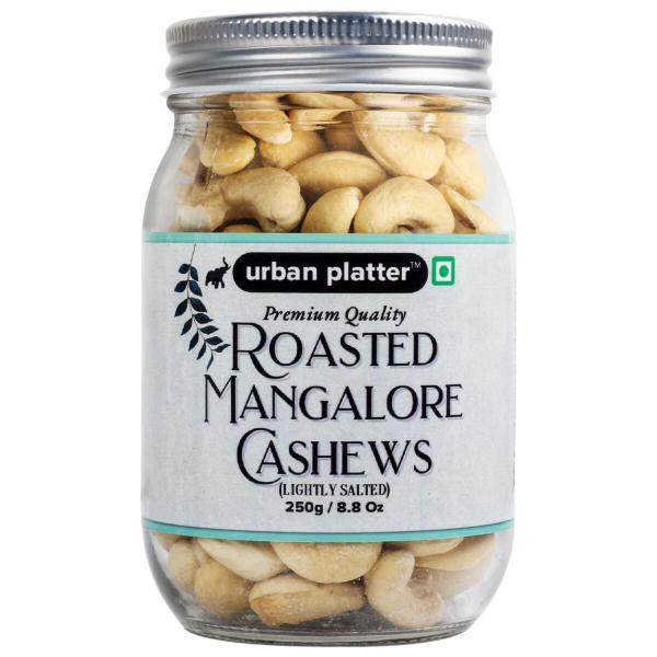 Urban Platter Roasted Lightly Salted Bold Mangalore Cashew Nuts, 250g / 8.8oz [Premium Quality, Comes in Handy Manson Glass Jar]