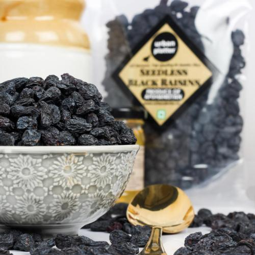 Urban Platter Seedless Black Afghan Raisins, 500g