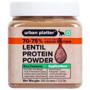 Urban Platter Lentil Protein Powder, 100g / 3.5oz [70-75% Protein, Plant-Based, Non-GMO]