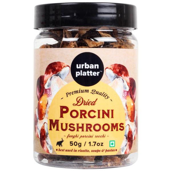Urban Platter Dried Italian Porcini Mushrooms, 50g / 1.76oz [All Natural, Sun-Dried, Funghi Porcini Secchi]