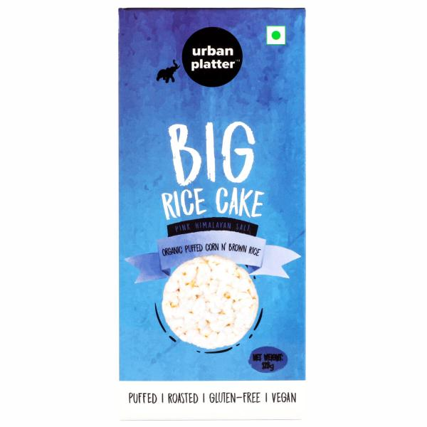 Urban Platter Organic Puffed Corn and Brown Big Rice Cakes, 125g
