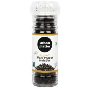 Urban Platter Malabar Organic Whole Black Pepper, 60g [Grinder Bottle, Fairtrade & USDA Certified]