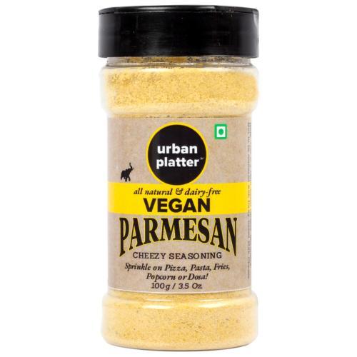 Urban Platter Vegan Parmesan Cheese Shaker Jar, 100g [Cheesy Seasoning, Dairy-Free, Not Milk Cheese]