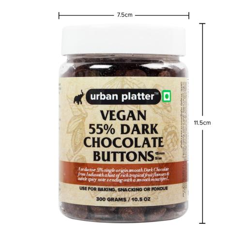 Urban Platter All Natural, Dairy-Free and 55% Cocoa Vegan Dark Chocolate Buttons, 300g