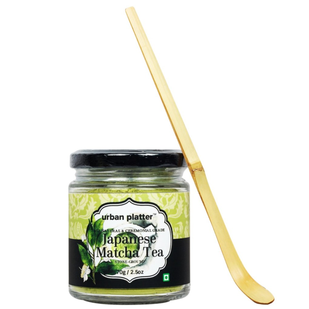 Urban Platter Premium Japanese Matcha Tea, 70g w/ Matcha Bamboo Spoon FREE! [Boosts Metabolism, Rich in Fiber & Aids in Concentration]
