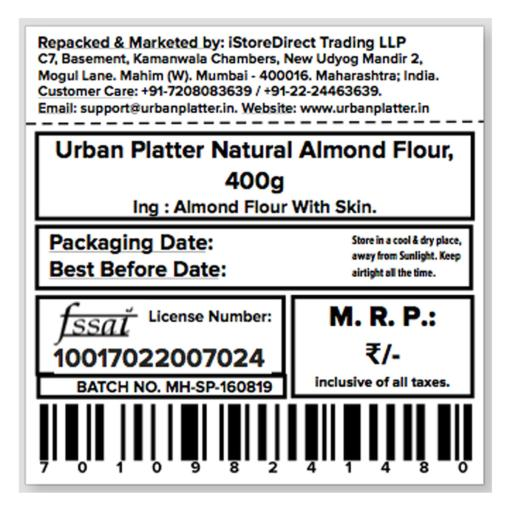 Urban Platter Natural Almond Flour, 400g [Gluten-Free, Low-carb, Unblanched]
