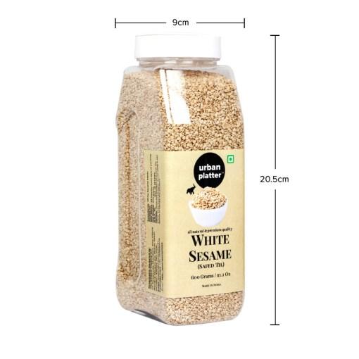 Urban Platter White Sesame (Safed Til) Seeds Shaker Jar, 600g