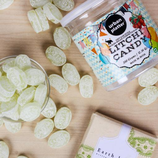 Urban Platter Litchi Candy, 350g [Vintage-style Boiled Sugar Confectionery]