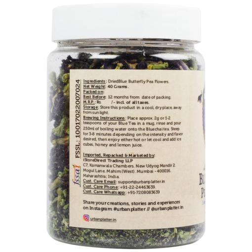 Urban Platter Blue Butterfly Pea Flower Tea, 40g / 1.41oz [Premium Blue Tea, Brain Stimulant, Rich in Antioxidants]