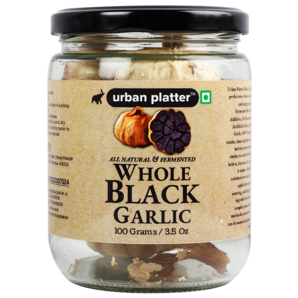 Urban Platter Whole and Fermented Black Garlic, 125g / 4.4oz [Nutrient Rich, Antioxidant, Premium Quality]