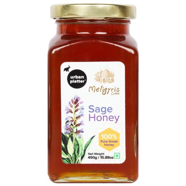 Urban Platter Sage Honey with Honey Dipper Stick, 450g / 15.8oz [Delightful Taste, Nutrient Rich, Made in Greece]