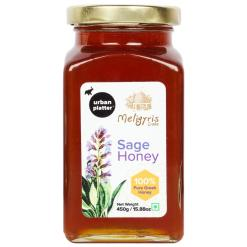 Urban Platter Sage Honey with Honey Dipper Stick, 450g / 15.8oz [Delightful Taste, Nutrient Rich, Made in Greece]