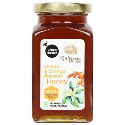 Urban Platter Natural Lemon and Orange Blossom Honey with Honey Dipper Stick, 450g / 15.8oz [Fruity, Rich in Zinc, Made in Greece]