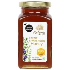 Urban Platter Thyme and Wild Herbs Honey with Honey Dipper Stick, 450g / 15.8oz [Rich in Micronutrient, Quality Herbs, Made in Greece]