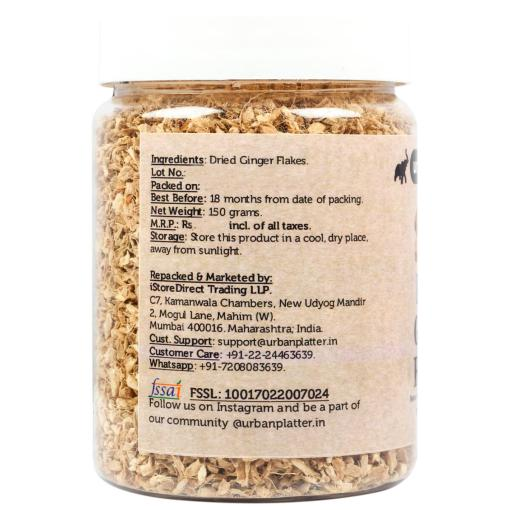 Urban Platter Dried Ginger Flakes, 150g / 5.3oz [Rich Aroma, Improves Digestion & Boosts Immunity]