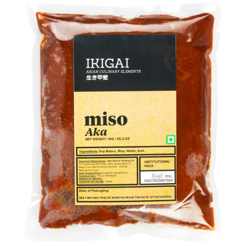 IKIGAI Aka Miso Paste, 1Kg / 35.2oz [All Natural, Dark Miso & Soy-Based]