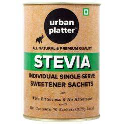 Urban Platter Stevia Individual Single-Serve Sweetener Sachets [70 Sachets of 0.75g Each, No Bitterness & No Aftertaste]