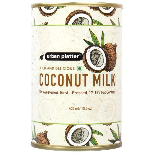 Urban Platter Coconut Milk, 400ml / 13.5fl.oz [Unsweetened, 17-19% Fat Content, First-Pressed]