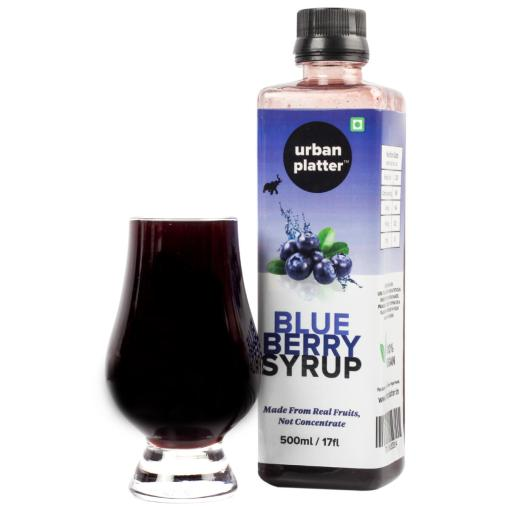 Urban Platter Blueberry Syrup, 500ml / 17fl.oz [Vegan, Thick, Made From Real Fruits]