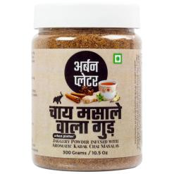 Urban Platter Jaggery Powder Infused With Kadak Chai Masala, 300g / 10.58oz [Premium Quality, Aromatic, Flavourful]